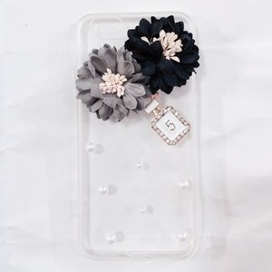 iPhone 7 Plus Black Gray Floral Pearl Clear Case